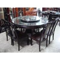 Round Ebony Table & Chair Set