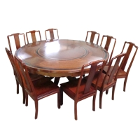 Round Mahogany Dining Room Ensemble