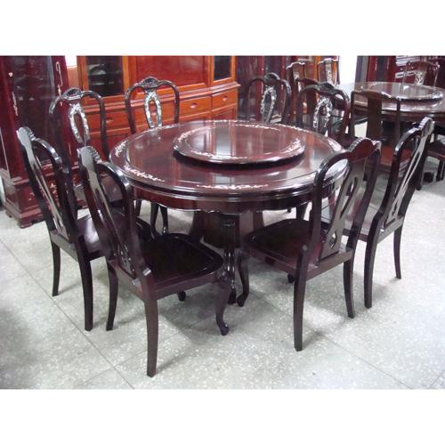 Round Padauk Dining Room Ensemble