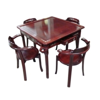 Mahogany Mahjong Table And Chair Ensemble
