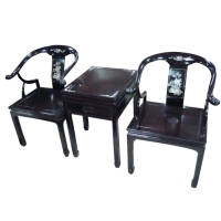 黑檀小牛角椅組