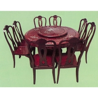 Round Mahogany Dining Room Ensemble