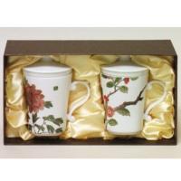 刺繡花對杯禮盒