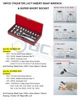 "18PCS 17H(3/8""DR.) ACT INSERT-SNAP WRENCH & SUPER SHORT SOCKET"