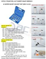 "31PCS 17H(3/8""DR.) ACT INSERT-SNAP WRENCH & SUPER SHORT SOCKET SET (MM / S.A.E)"