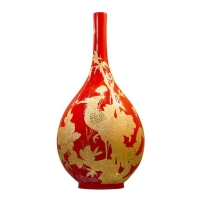 China Red Porcelain W/Gold-drawing