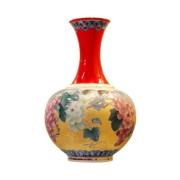 China Red Porcelain W/Painting