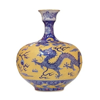 Blue and White Porcelain W/Gold-drawing