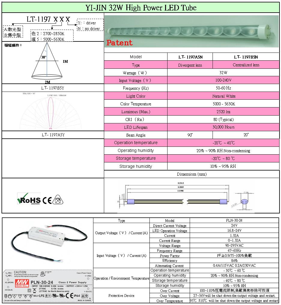 YI-JIN 32W High Power LED Tube