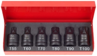 "6pcs 1/2""Dr. 43mm Star Impact Socket Set Cr-Mo"