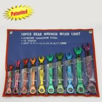 10pcs Gear Wrench W/LED Light