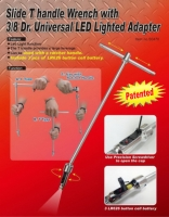 Slide T handle Wrench with 3/8 Dr. Universal LED Lighted Adapter