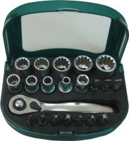 21支組齒套棘輪鑽頭組