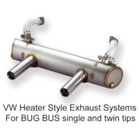 VW Heater Style Exhaust Systems For BUG BUS single and twin tips