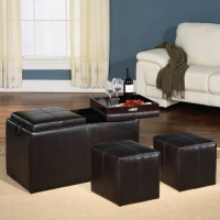 Storage with 2 Tray & 2 Small Ottoman