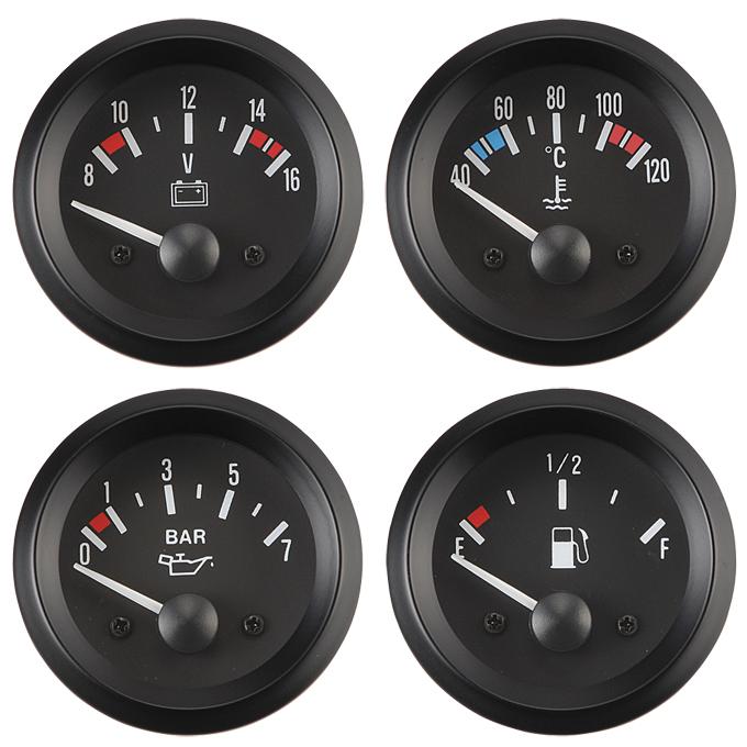 Vintage - Voltmeter /  Water Temperature Meter / Oil Pressure Meter / Fuel Level Meter