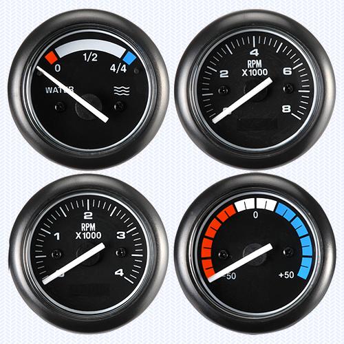 Classic Black ━ Voltmeter/Water Temperature Meter/Oil Pressure Meter/Fuel Level Meter/