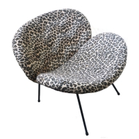 Lounge Chair  w/Leopard-motif  Upholstery