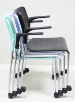 Plastic Stacking Chair With Casters & Armrest