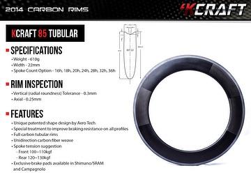 KCRAFT 85 TUBULAR CARBON RIM