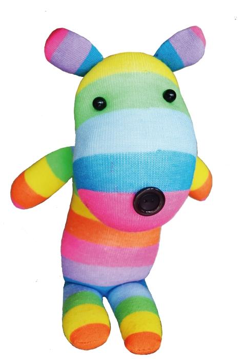DIY sock dolls (rainbow bear)