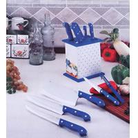 POM Handle Kitchen Knife Set w/ Rack