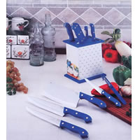 POM Handle Kitchen Knife Set w/ Rack