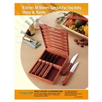 6-pc steak knife with rose wooden box
