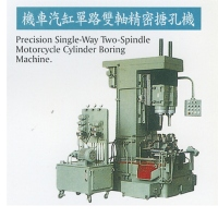 Single-way, two-spindle precision boring machine for motorcycle cylinders