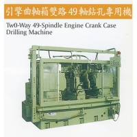 Two-way, 49-spindle drilling machine for crankcases