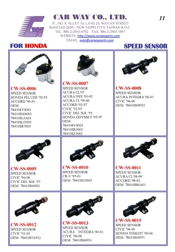 HONDA SPEED SENSORS