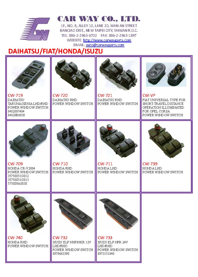 DAIHATSU/FIAT/HONDA/ISUZU AUTO SWITCH/POWER WINDOW SWITCH