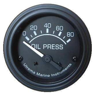 Utrema Black Marine Oil Pressure Gauge 52mm