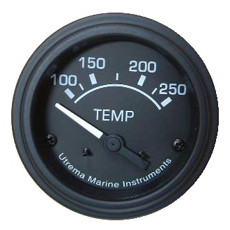 Utrema Black Marine Water Temperature Gauge 52mm