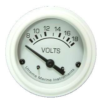 Utrema White Marine Voltmeter 2-1/16