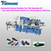 Automatic rotary machine for the injection of one-color full plastic footwear