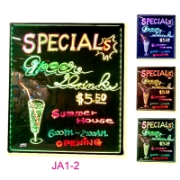 JA1-2 Illuminated LED color change writing/menu blackboard.