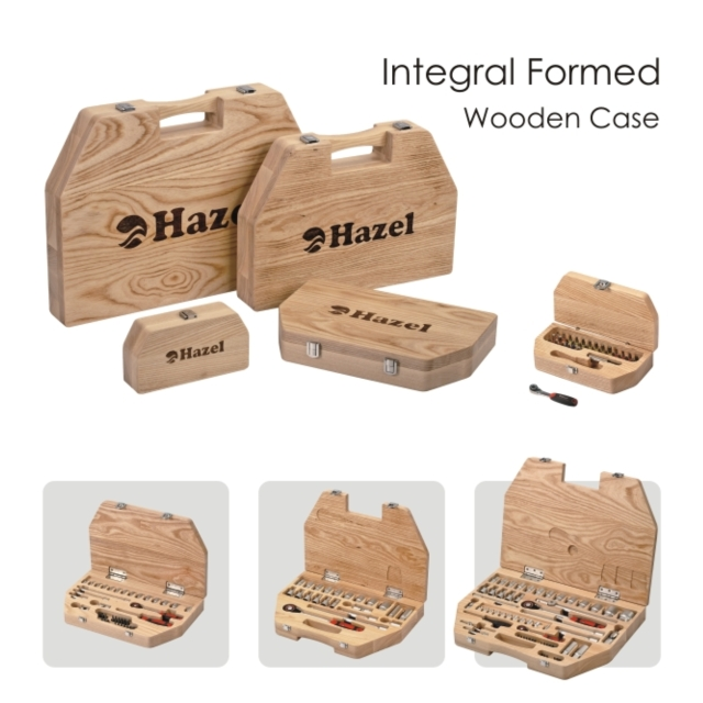Integral formed wooden case with tools