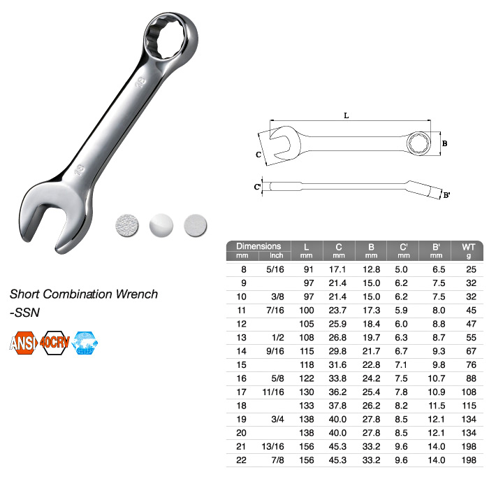 Short Combination Wrench-SSN