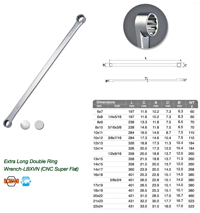 Extra Long Double Ring Wrench-LBXVN (CNC Super Flat)