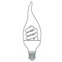 Bent-tip Candle Shape Covered Compact Fluorescent Lamp