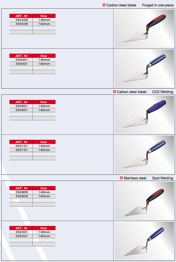 33-3 Square Front Trowels/ Cement Tools