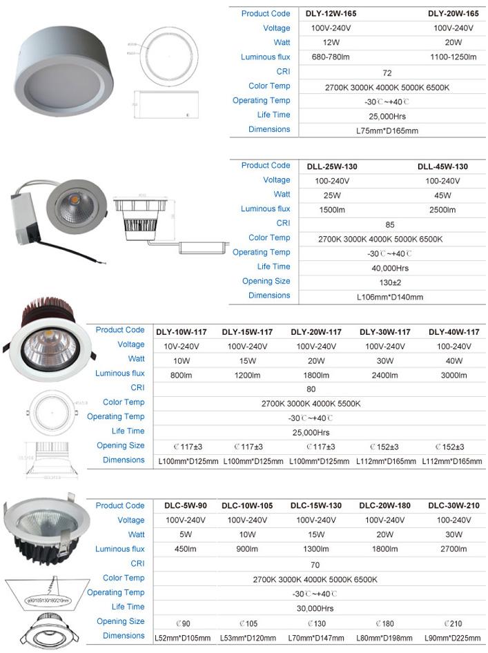 LED Recessed light DL 25W