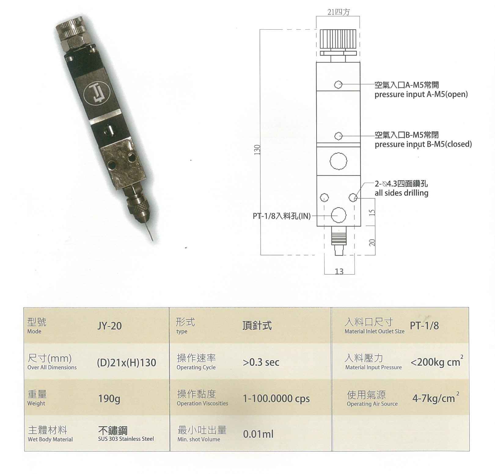 Adjustable Needle Pressure Value