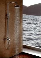 不鏽鋼三功能淋浴柱附8方頂噴