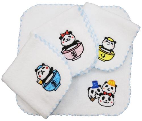 貓熊家族小方巾
