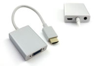 HDMI to VGA+3.5MM Audio+Mirco USB converter-Aluminum case with cable