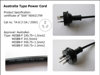 Cens.com Australia Type Power Cord (TA-8) TA HSING ELECTRIC WIRE & CABLE CO., LTD.