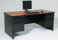 Full End Panel Desk w/ Double Pedestal