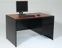 Full End Panel Desk w/ Single Pedestal